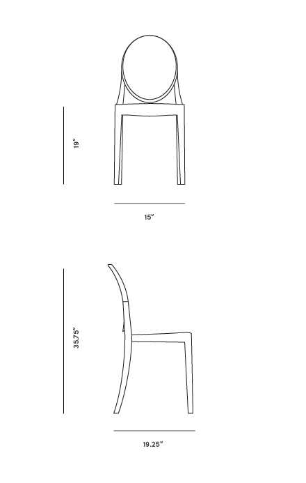 Dimensions for Ghost Side Chair - Victoria