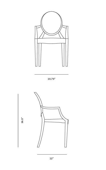Dimensions for Ghost Armchair - Louis