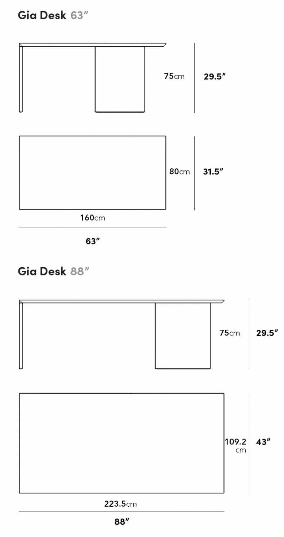 Dimensions for Gia Desk