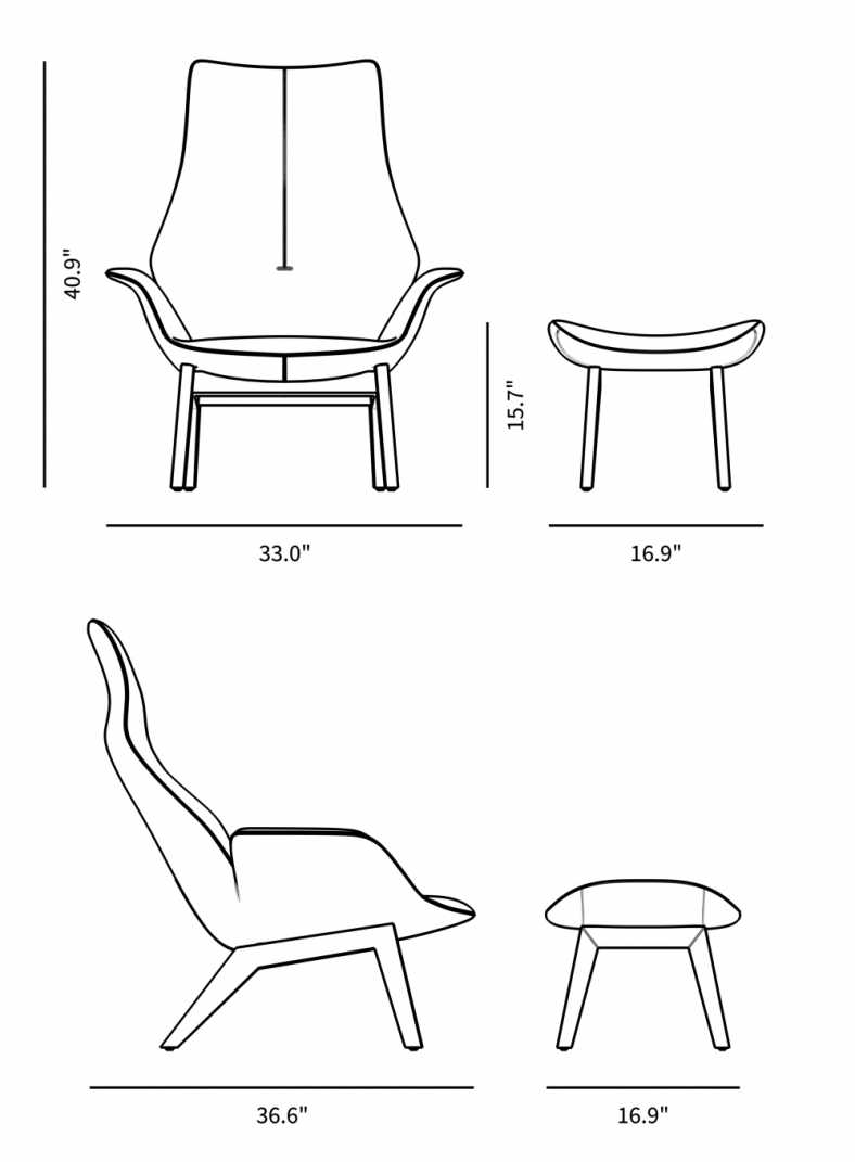Dimensions for Gustav Lounge Chair & Ottoman