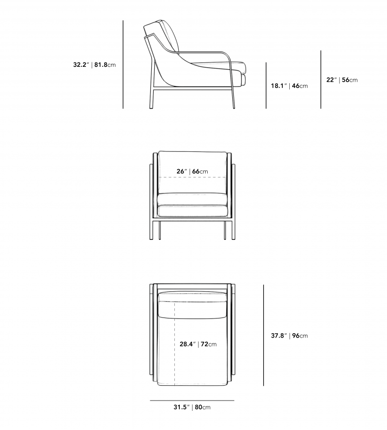 Dimensions for Halden Lounge Chair
