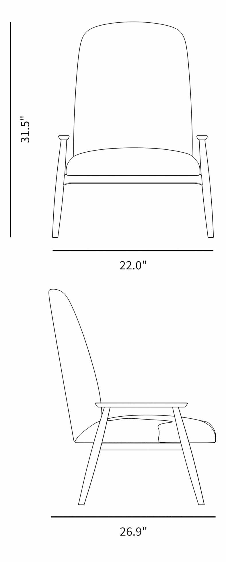 Dimensions for Hanna Lounge Chair