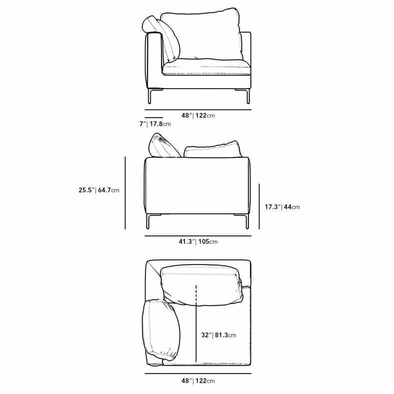 Dimensions for Hugo Left Arm Corner