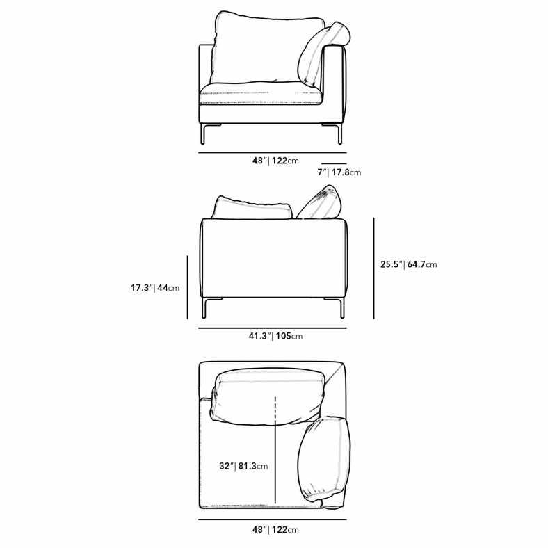 Dimensions for Hugo Right Arm Corner