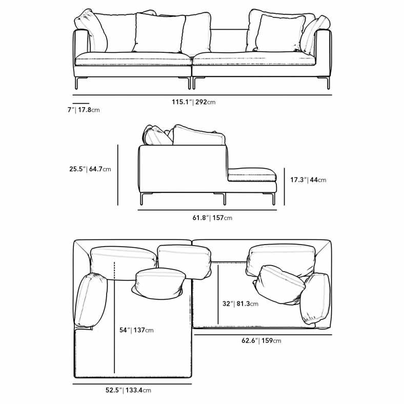 Dimensions for Hugo Sectional