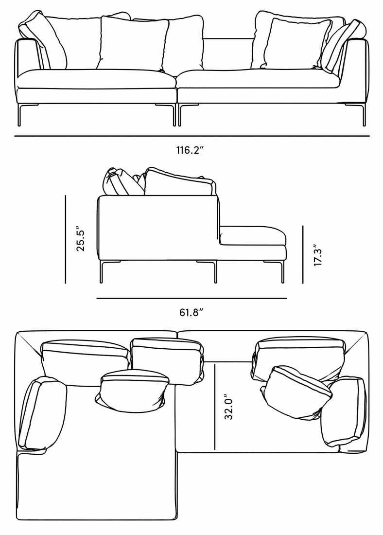 Dimensions for Hugo Sectional - Leather