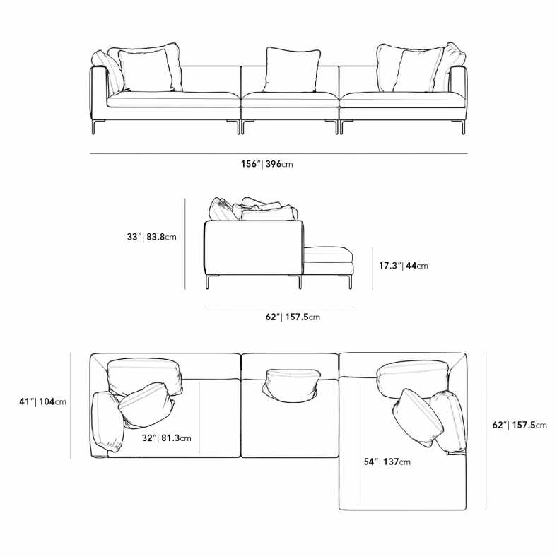 Dimensions for Hugo 3 Piece Sectional
