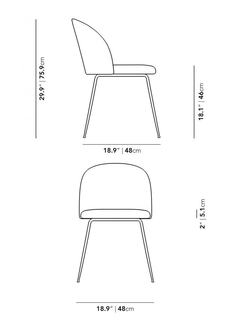 Dimensions for Iris Chair