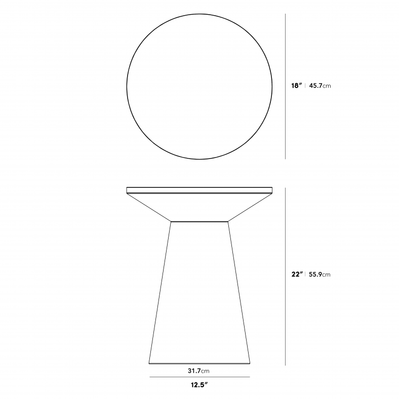 Dimensions for Iris Side Table
