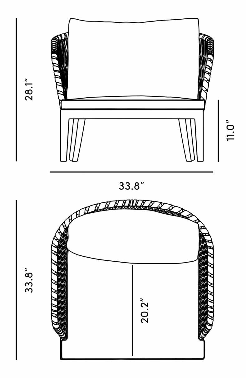 Dimensions for Isabella Armchair