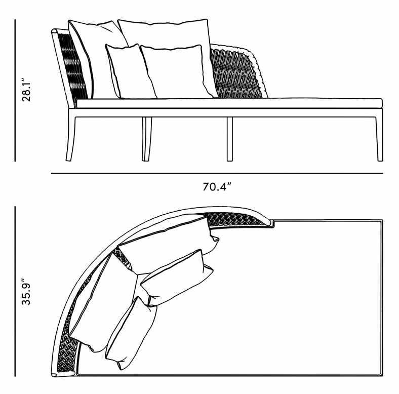 Dimensions for Isabella Daybed (Left)