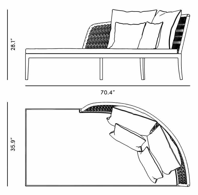 Dimensions for Isabella Outdoor Daybed (Right)