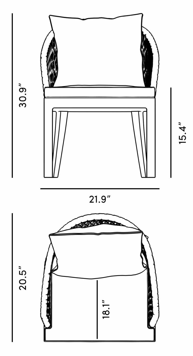 Dimensions for Isabella Outdoor Dining Chair