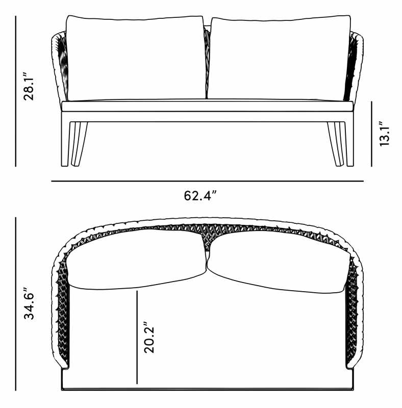 Dimensions for Isabella Loveseat