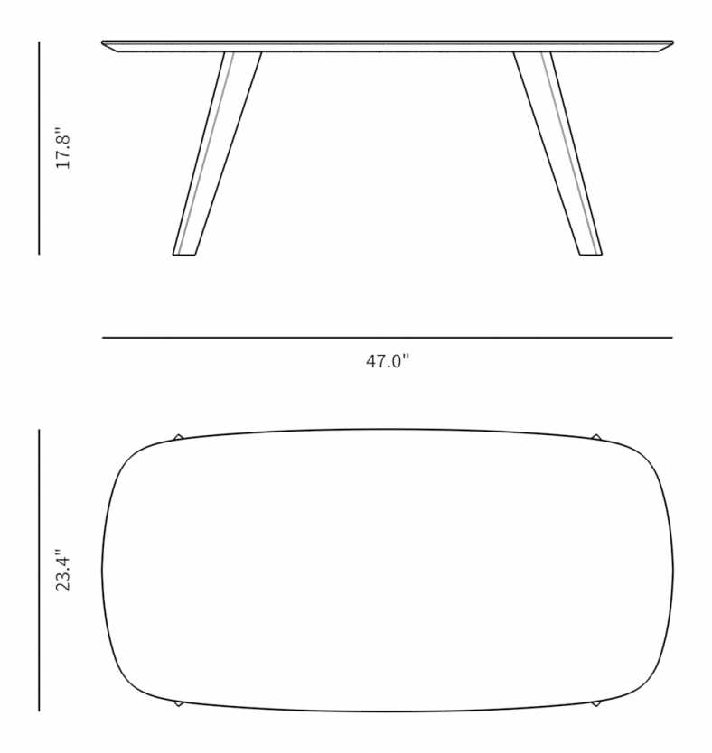 Dimensions for Janne Coffee Table