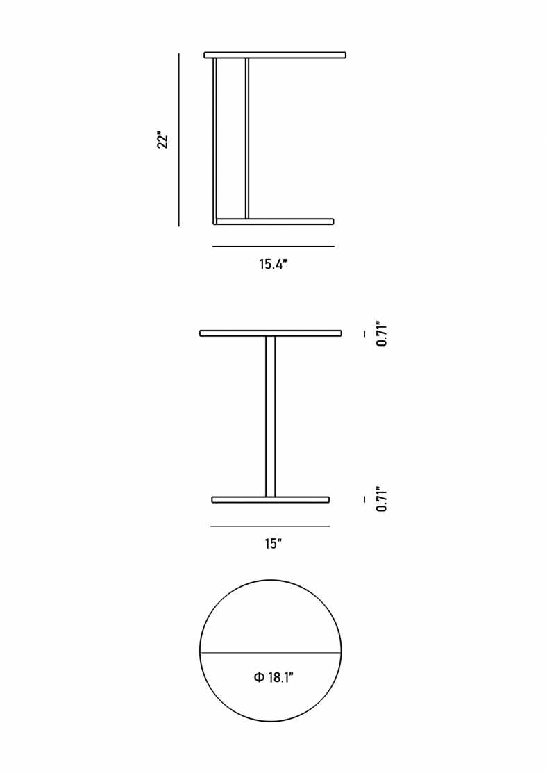 Dimensions for Josef Side Table