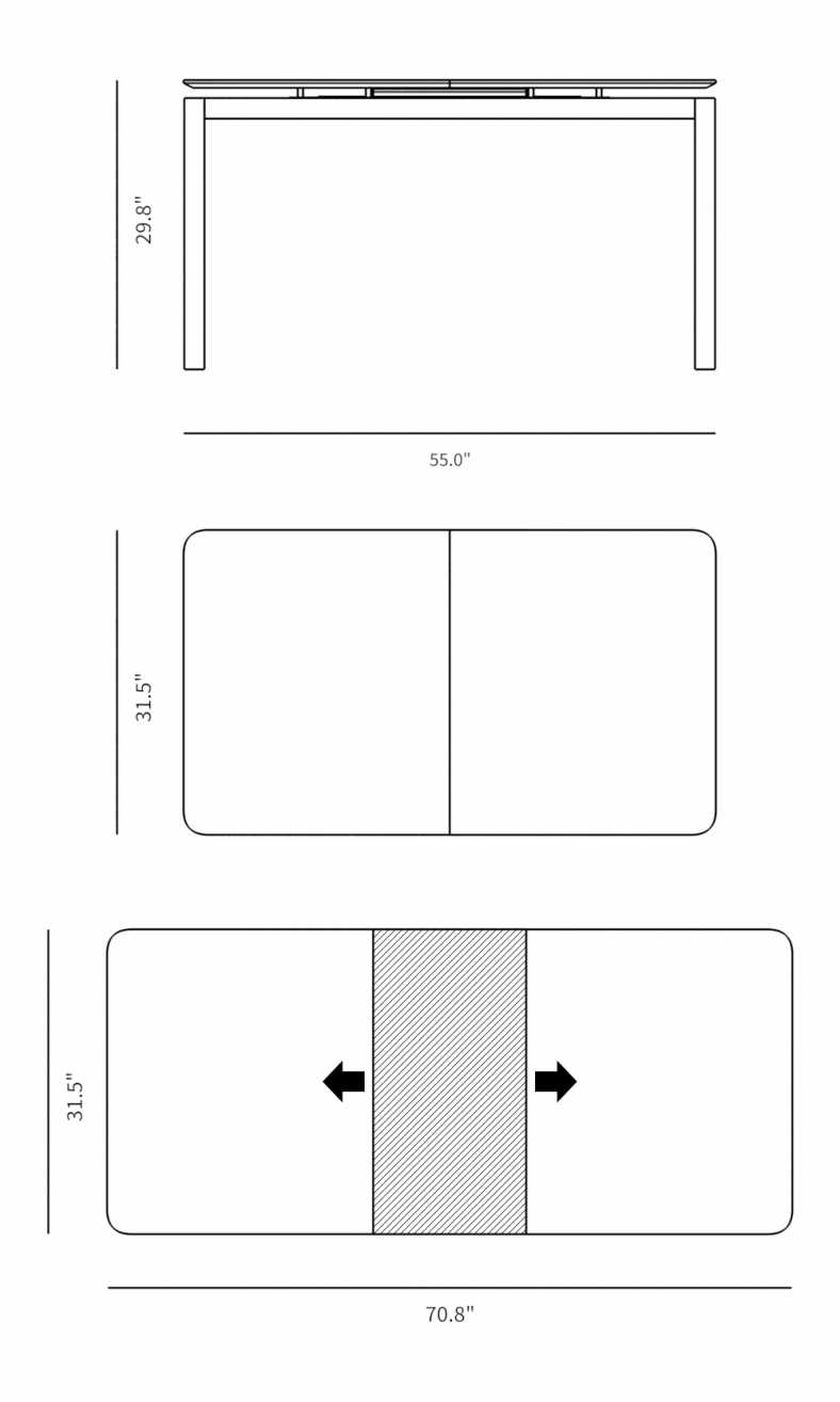 Dimensions for Karel Dining Table