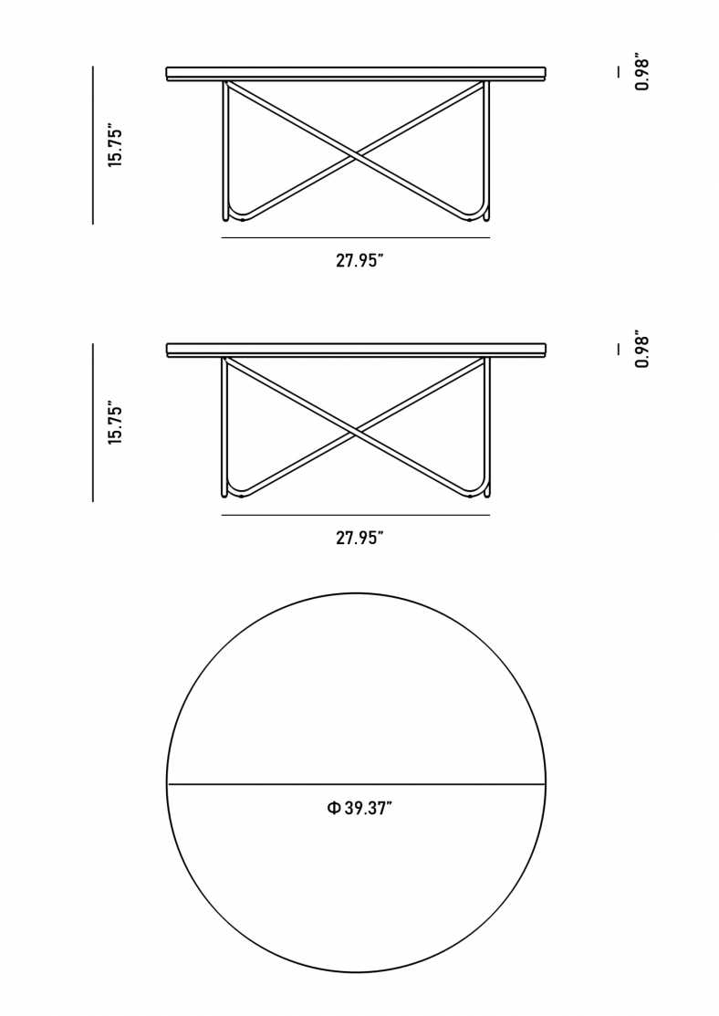 Dimensions for Kina Coffee Table