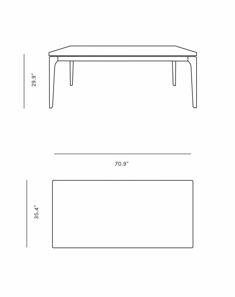 Dimensions for Lars Dining Table