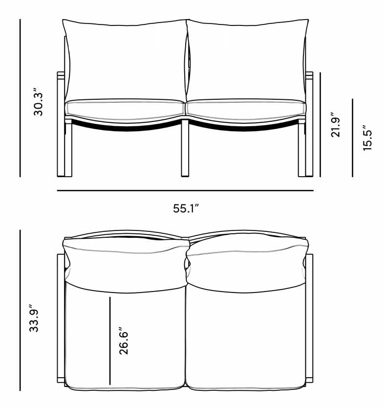 Dimensions for Linnea Outdoor Loveseat