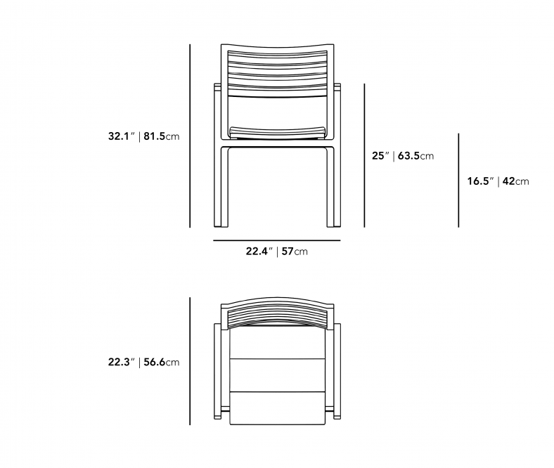 Dimensions for Linnea Outdoor Dining Chair