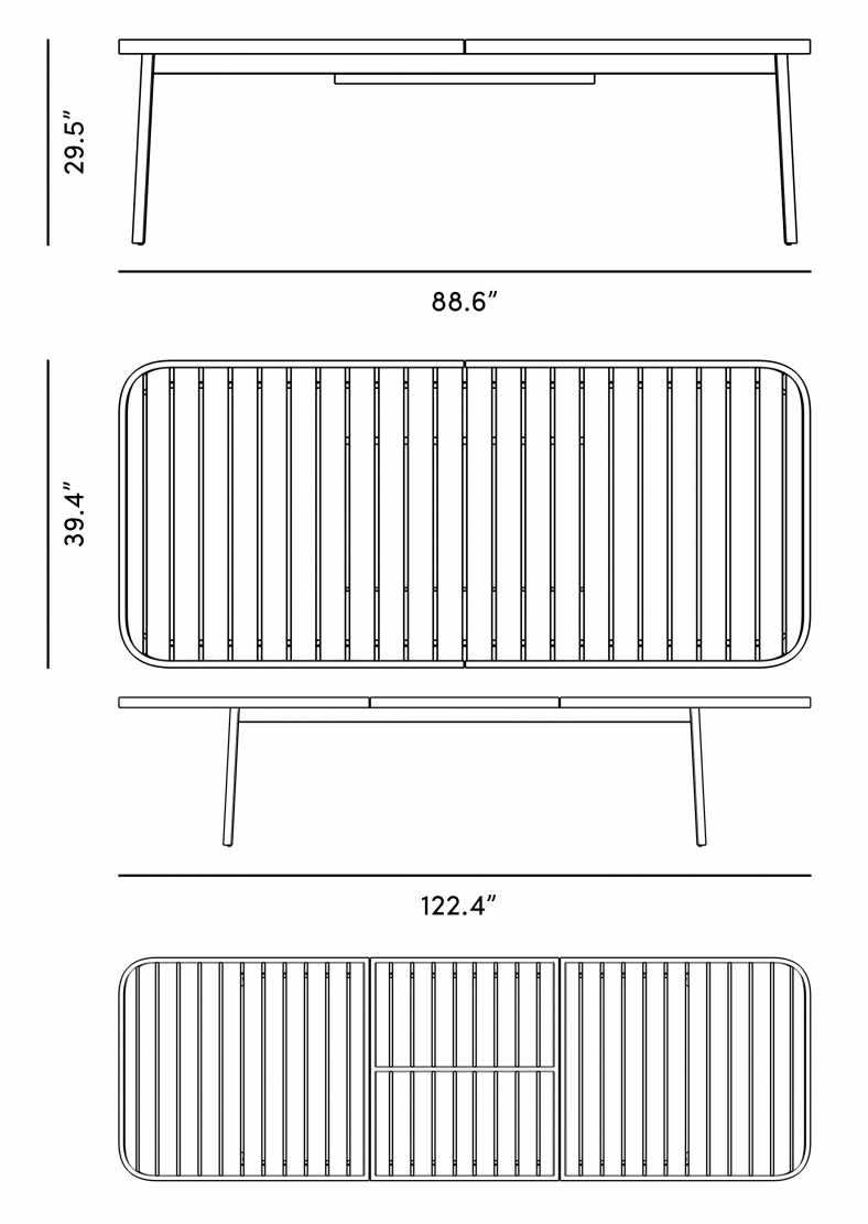 Dimensions for Linnea Dining Table