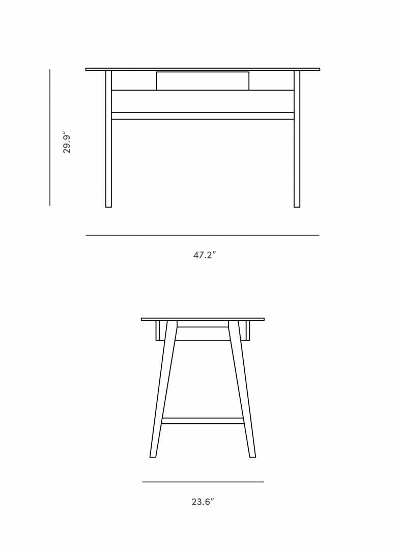 Dimensions for Liva Work Desk