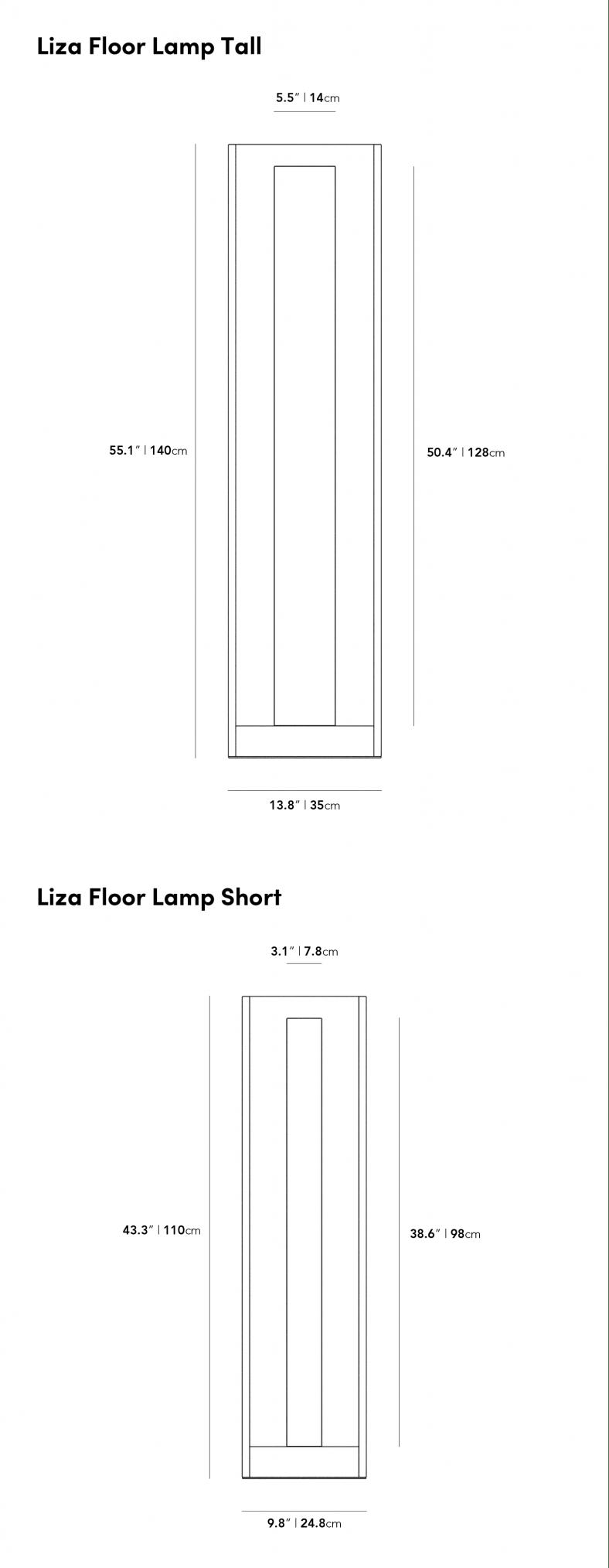 Dimensions for Liza Floor Lamp