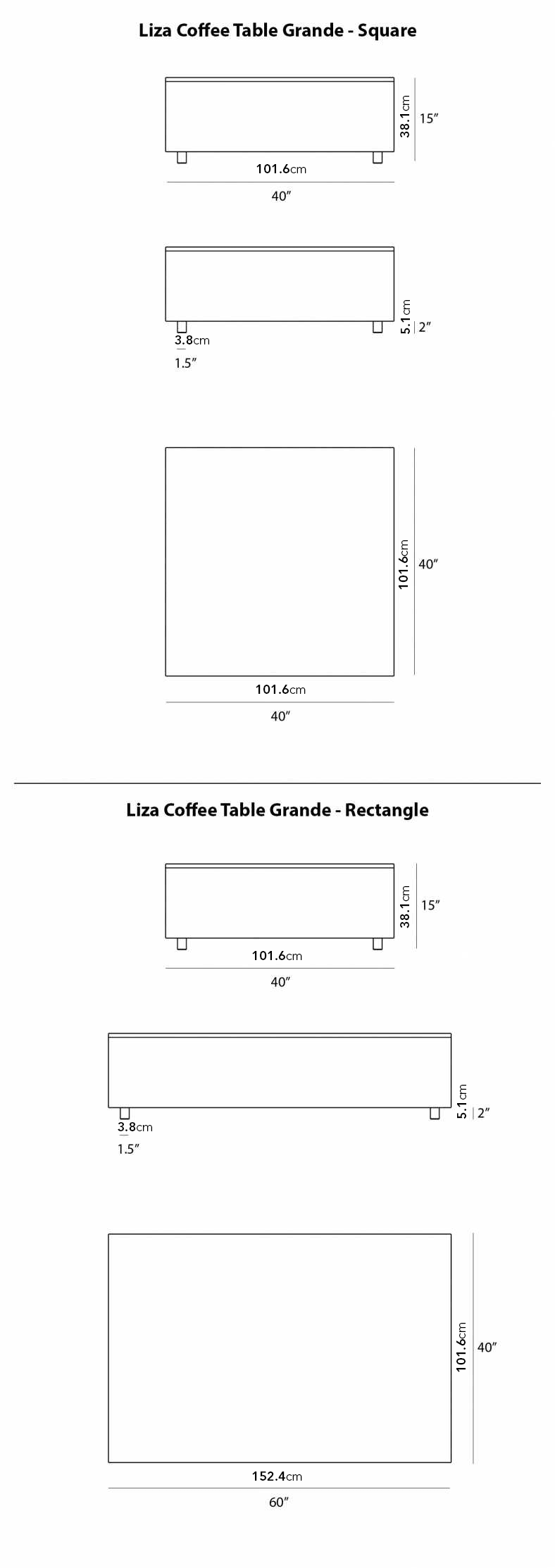 Dimensions for Liza Coffee Table Grande - Marble