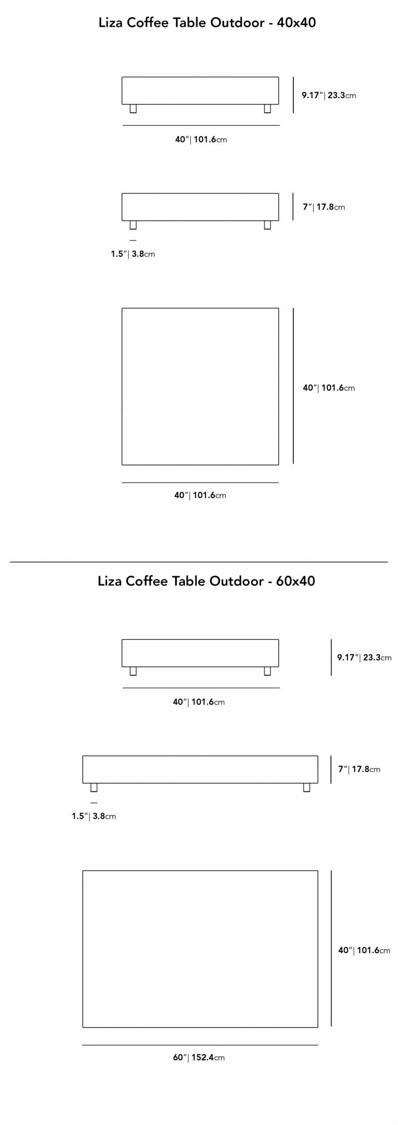 Dimensions for Liza Outdoor Coffee Table