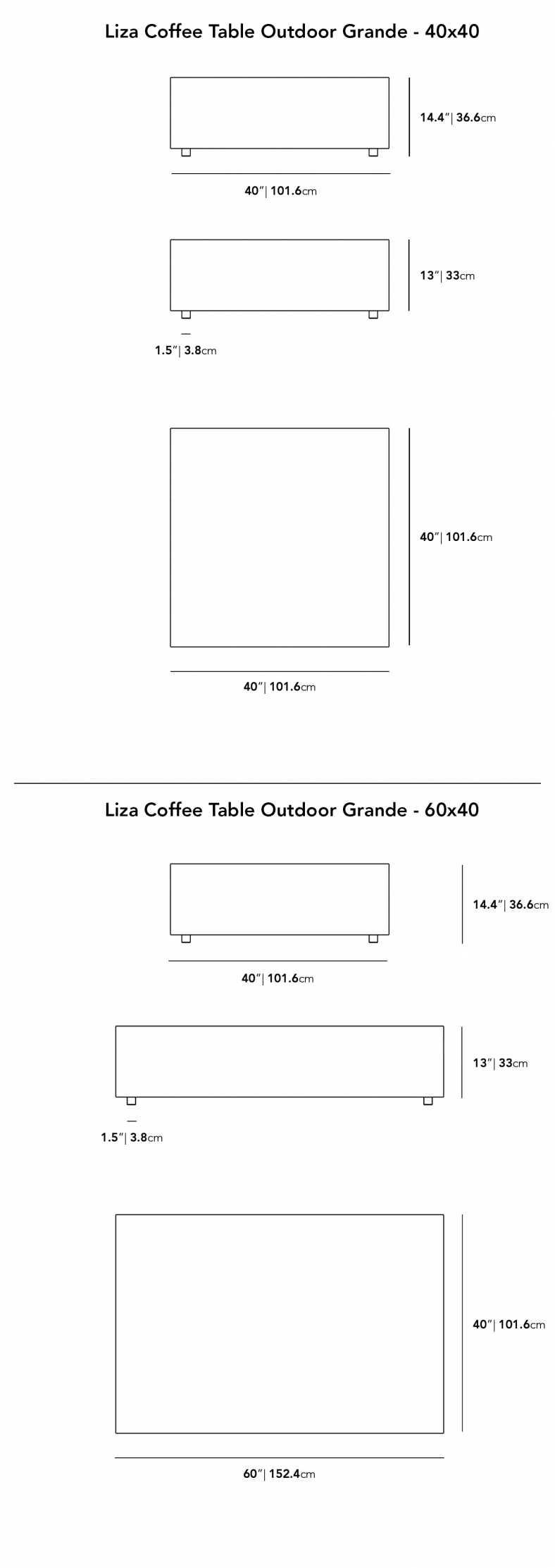 Dimensions for Liza Outdoor Coffee Table Grande