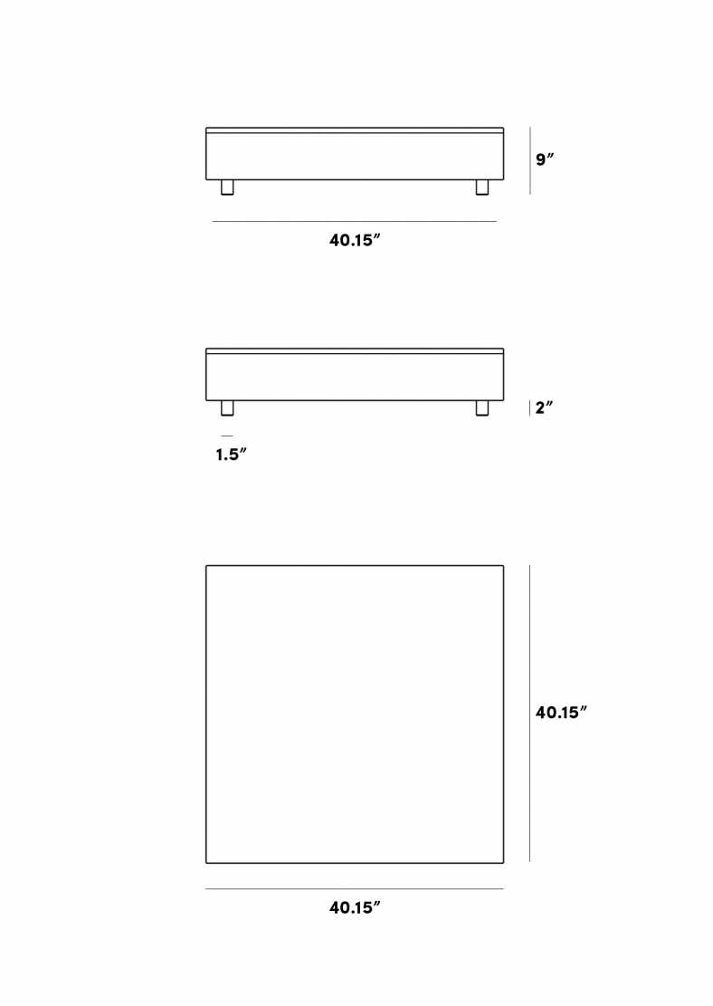 Dimensions for Liza Coffee Table - Walnut