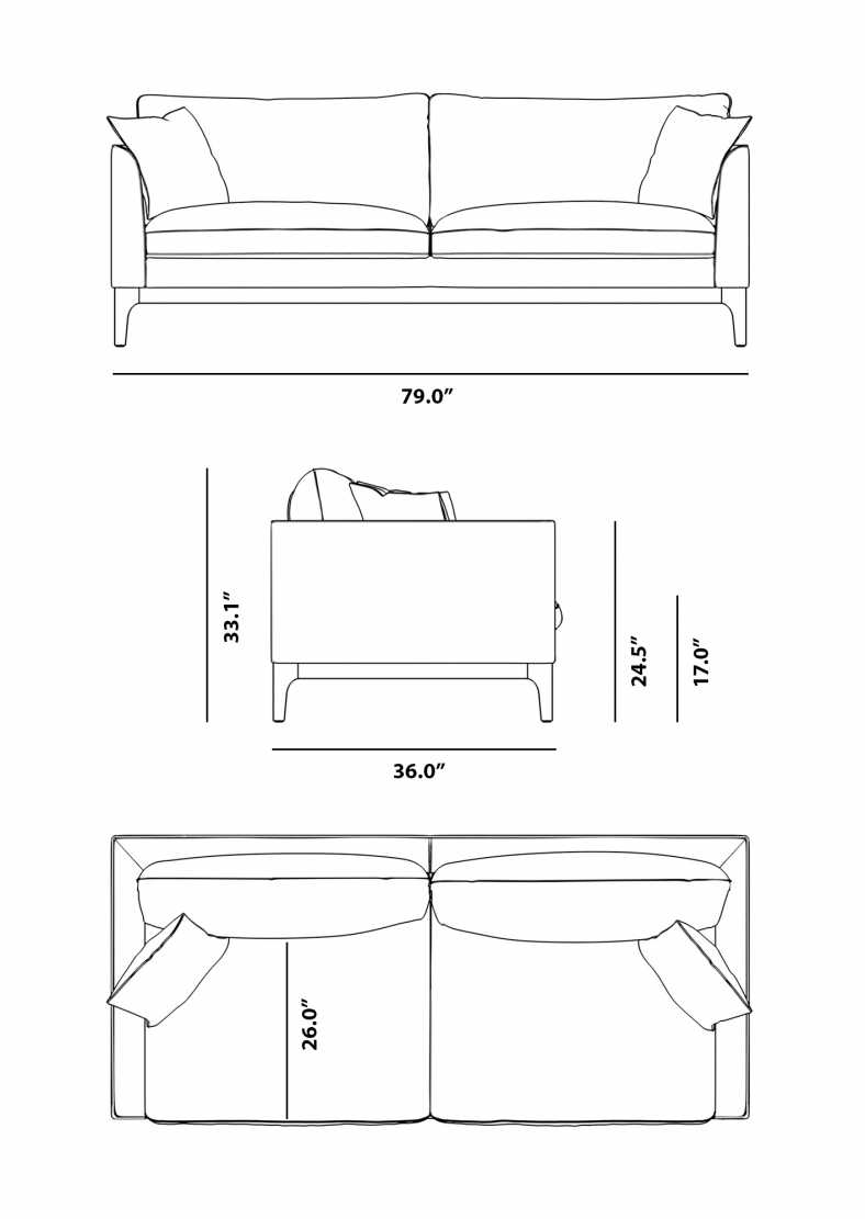 Dimensions for Loren Sofa