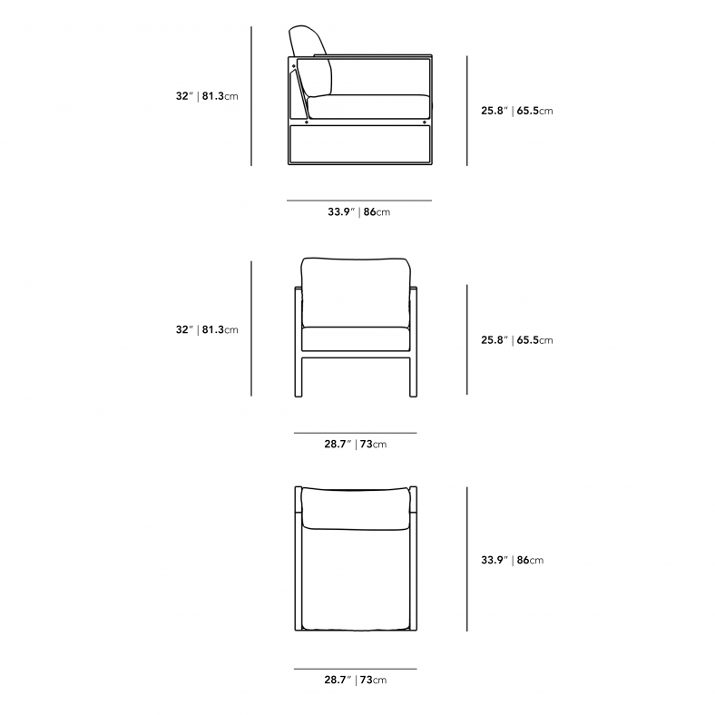 Dimensions for Louis Outdoor Armchair