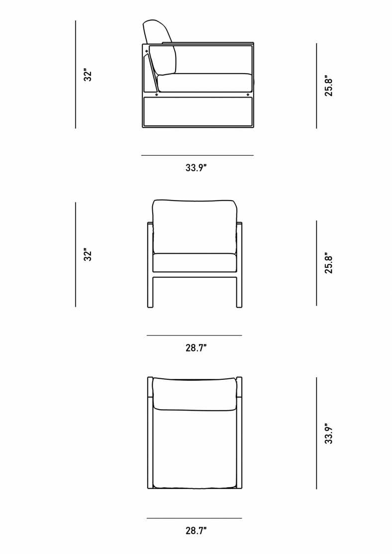 Dimensions for Louis Armchair