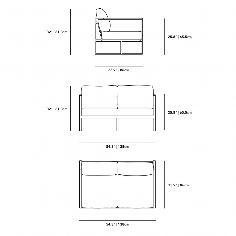Dimensions for Louis Outdoor Loveseat