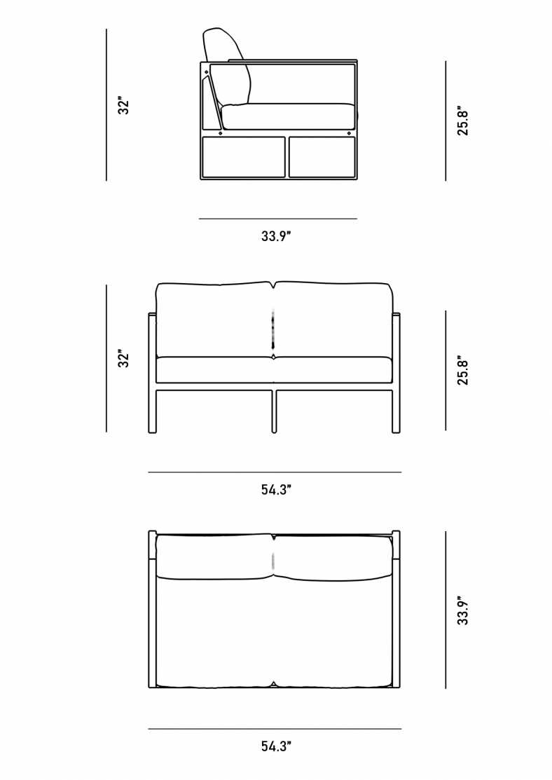 Dimensions for Louis Loveseat