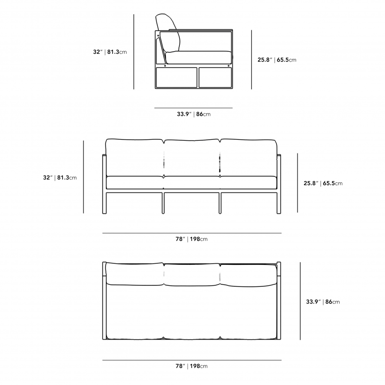 Dimensions for Louis Outdoor Sofa