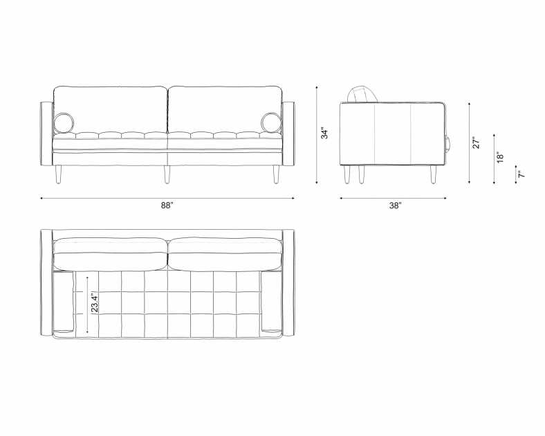 Dimensions for Luca Sofa - Leather