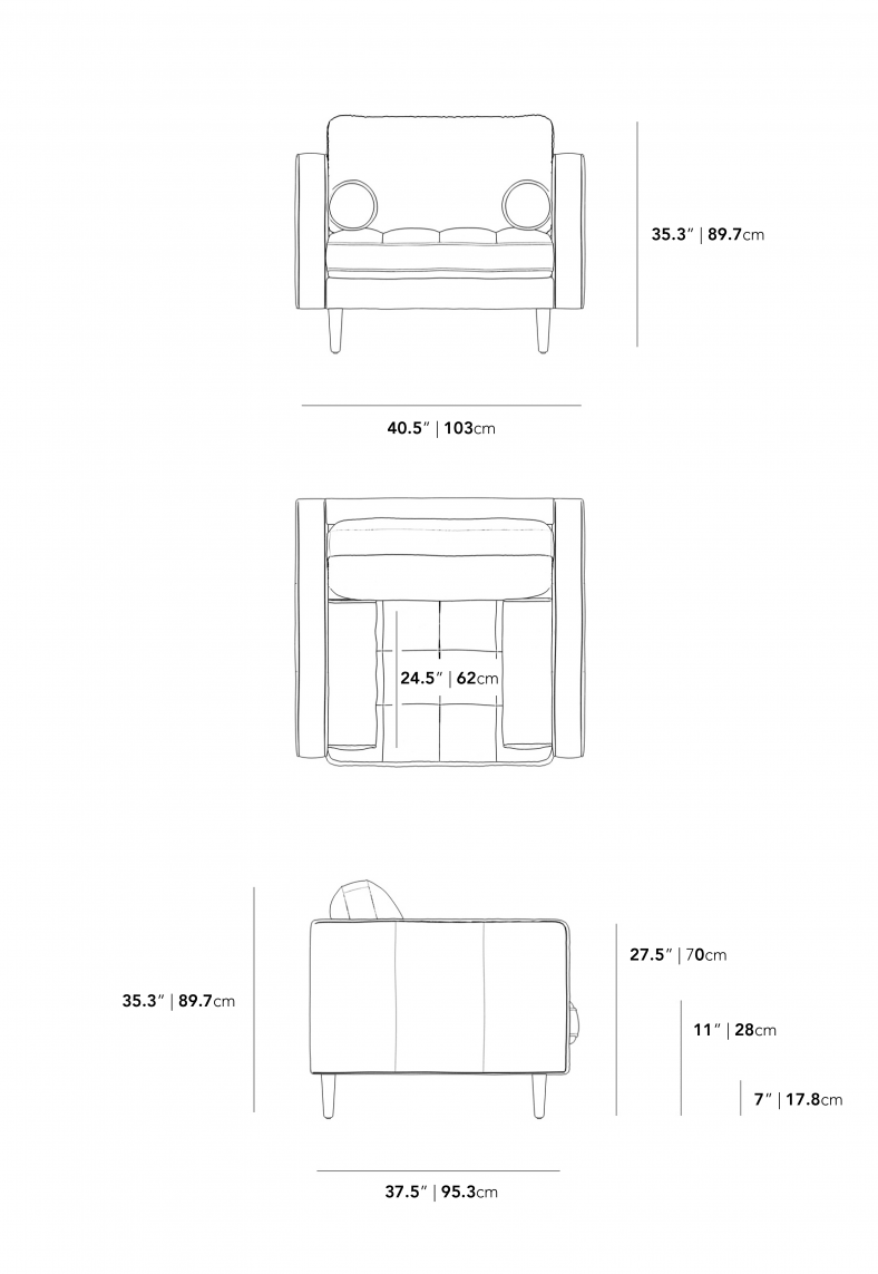 Dimensions for Luca Armchair