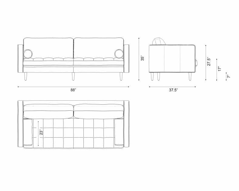 Dimensions for Luca Sofa
