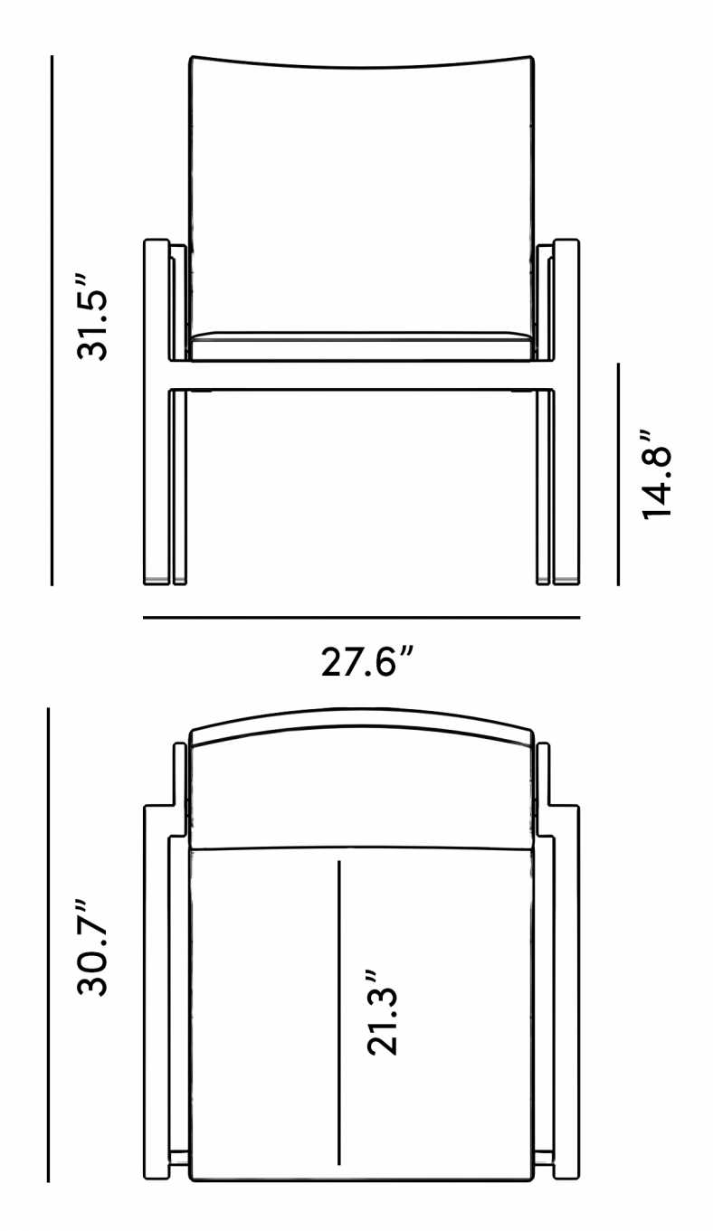 Dimensions for Maja Armchair