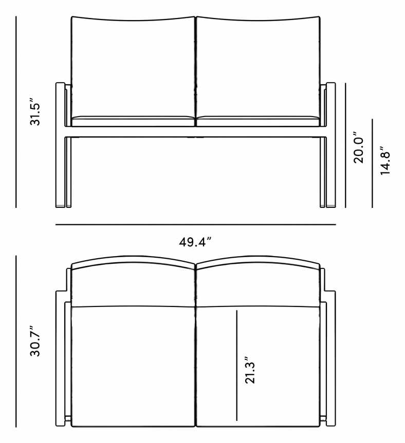 Dimensions for Maja Loveseat