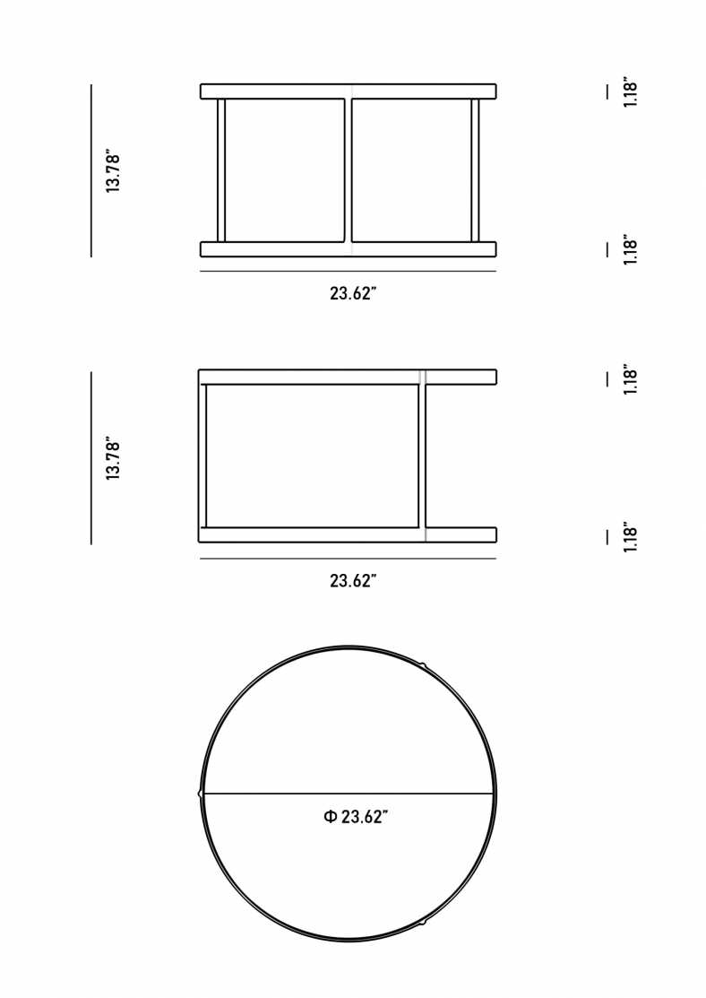 Dimensions for Malin Coffee Table