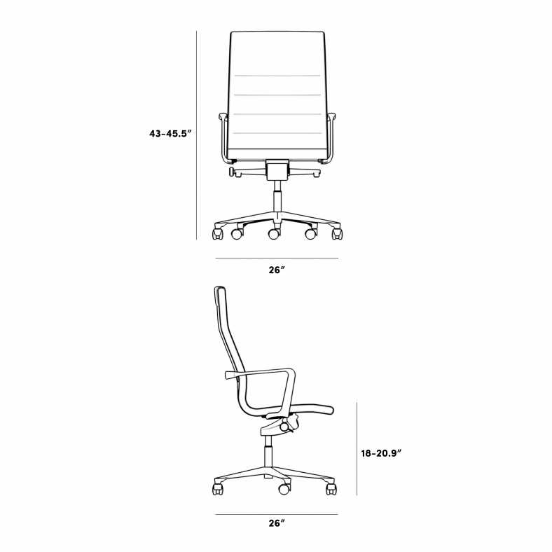 Dimensions for Management Office Chair - High Back