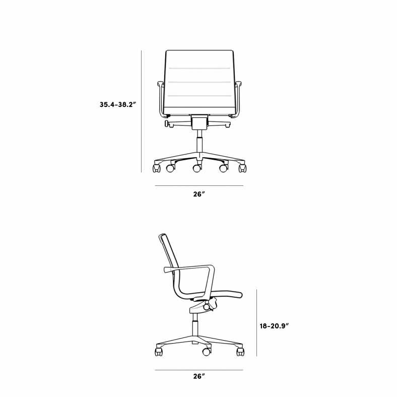 Dimensions for Management Office Chair - Low Back