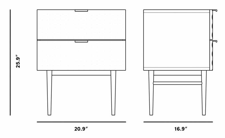Dimensions for Margot Nightstand