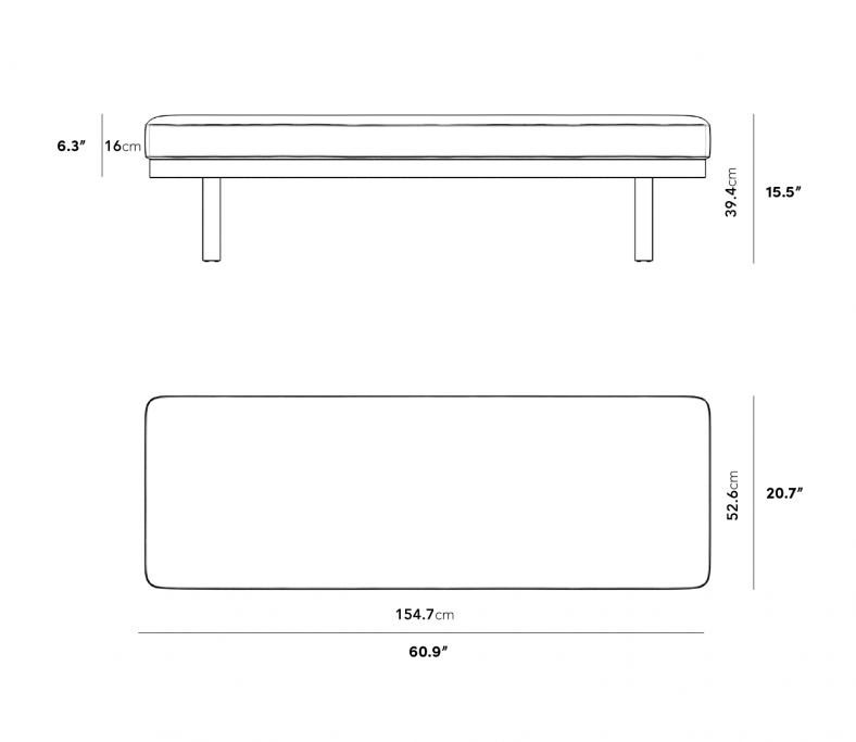 Dimensions for Maria Bench