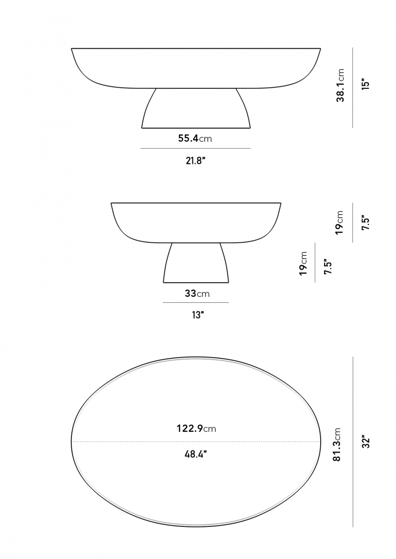 Dimensions for Maria Coffee Table