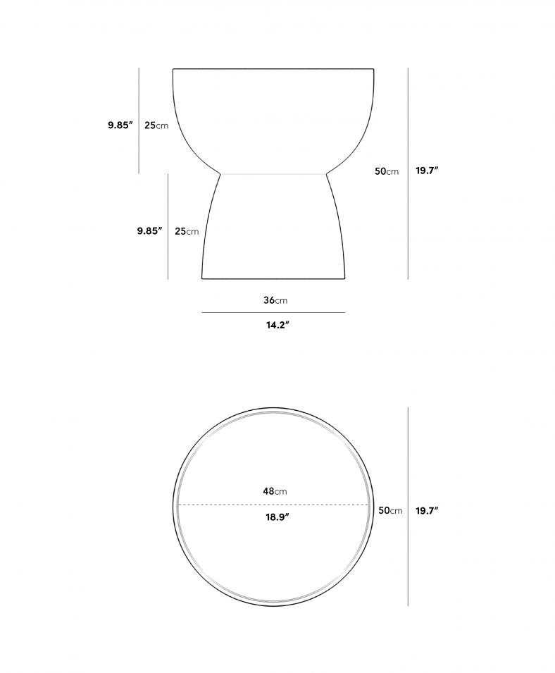 Dimensions for 마리아 사이드 테이블